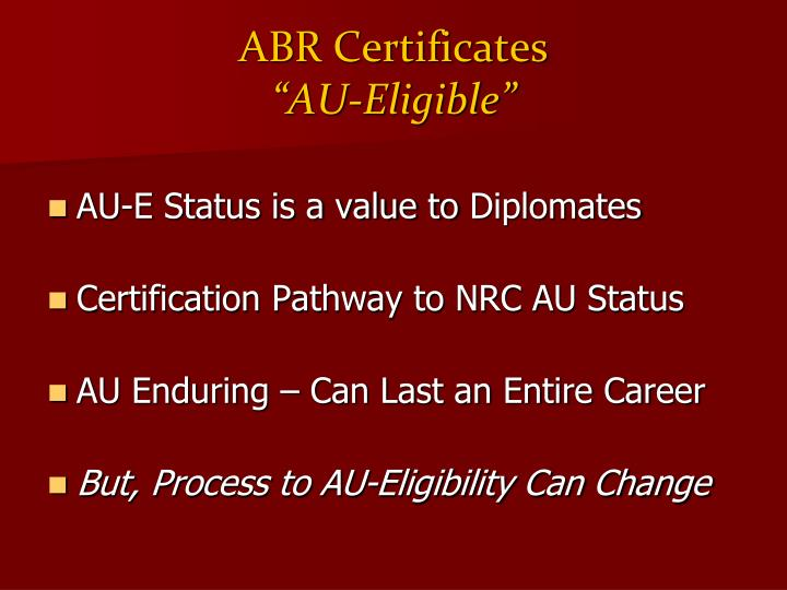 ABR Certificates