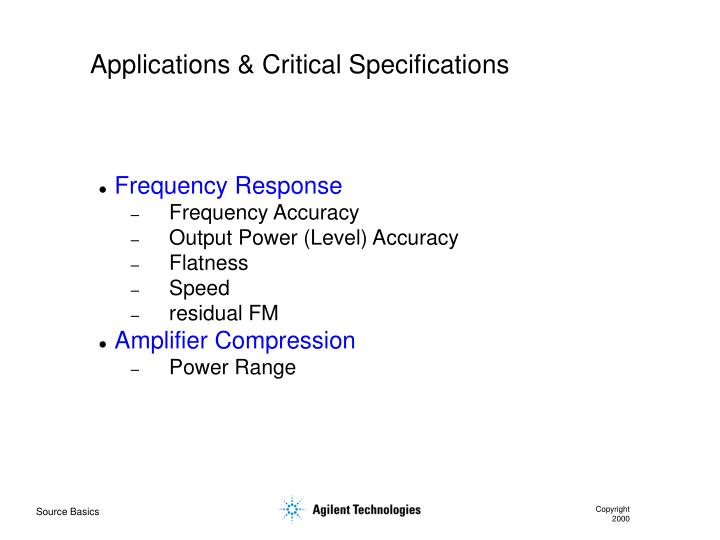 Applications & Critical Specifications