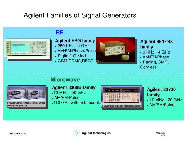 Agilent Families of Signal Generators