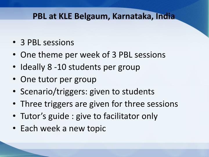 PBL at KLE Belgaum, Karnataka, India