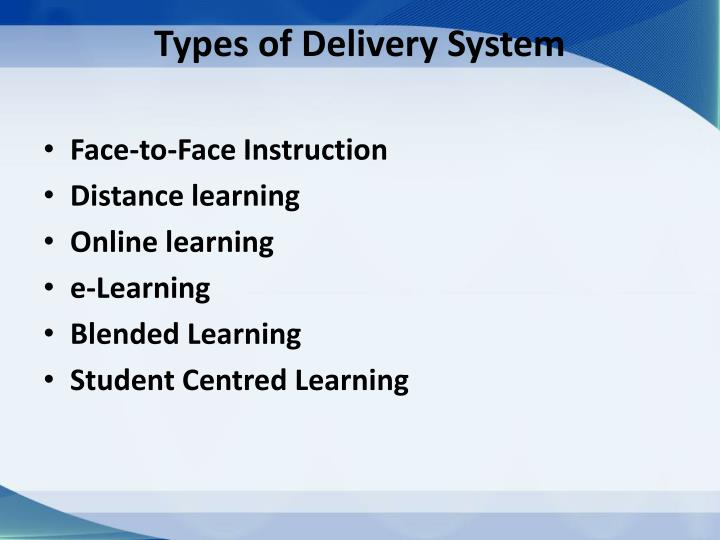 Types of Delivery System