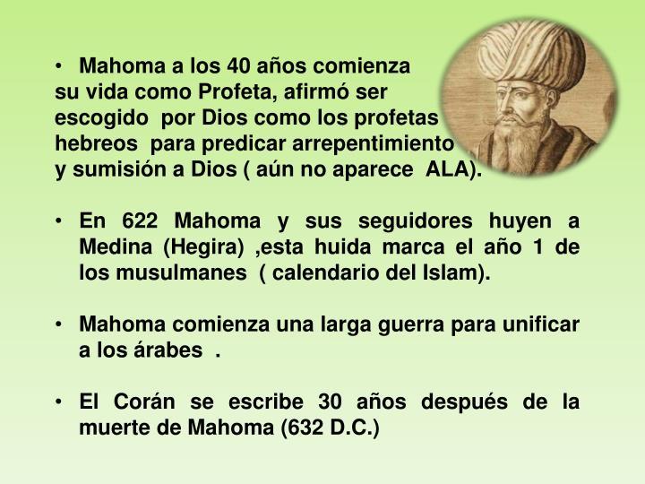 Mahoma a los 40 años