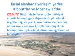 k rsal alanlarda yerle im yerleri kibbutzlar ve moshawlar d r