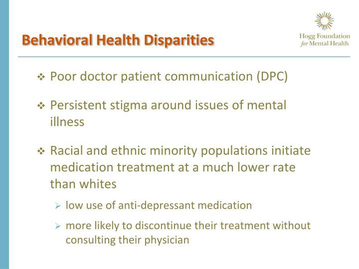 Behavioral Health Disparities