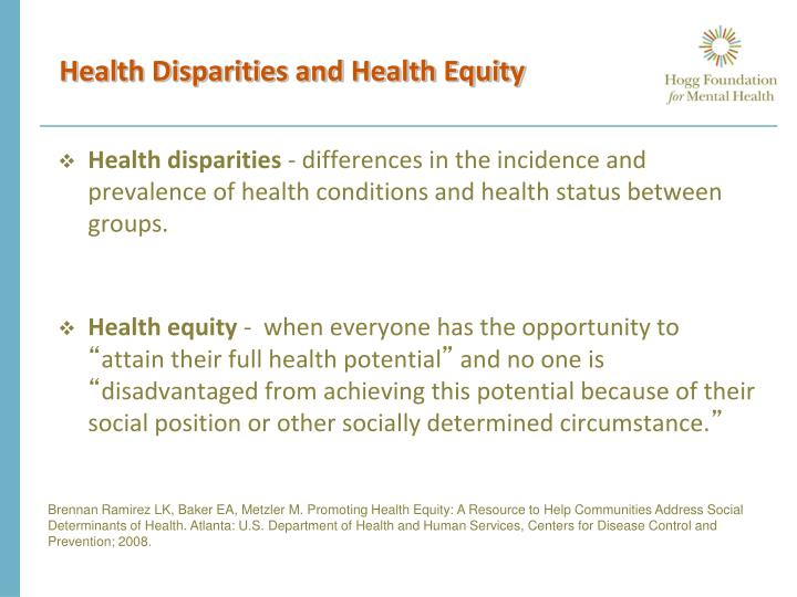 Health Disparities and Health Equity