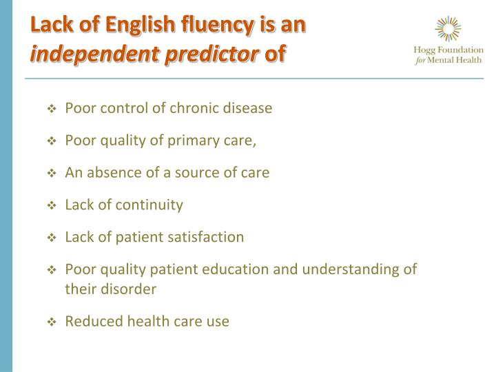 Lack of English fluency is