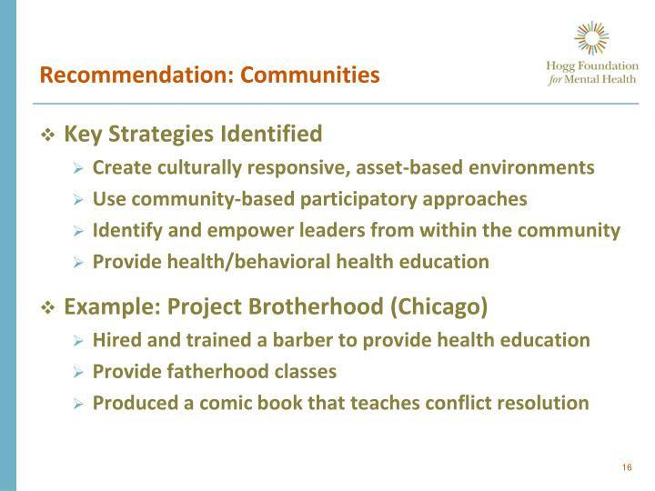 Recommendation: Communities
