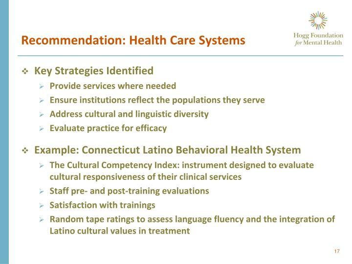 Recommendation: Health Care Systems