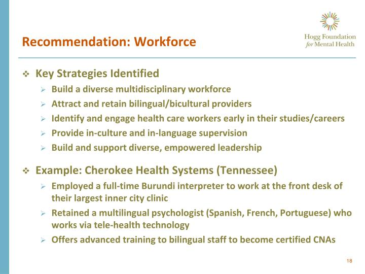 Recommendation: Workforce