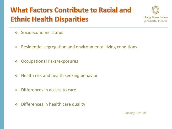 What Factors Contribute to Racial and Ethnic Health Disparities