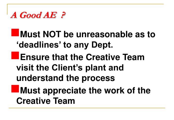 A Good AE  ?