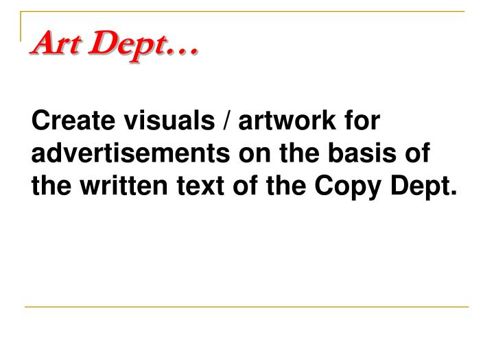 Art Dept…