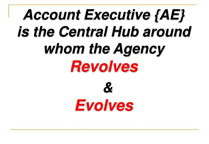 Account Executive {AE}                         is the Central Hub around whom the Agency