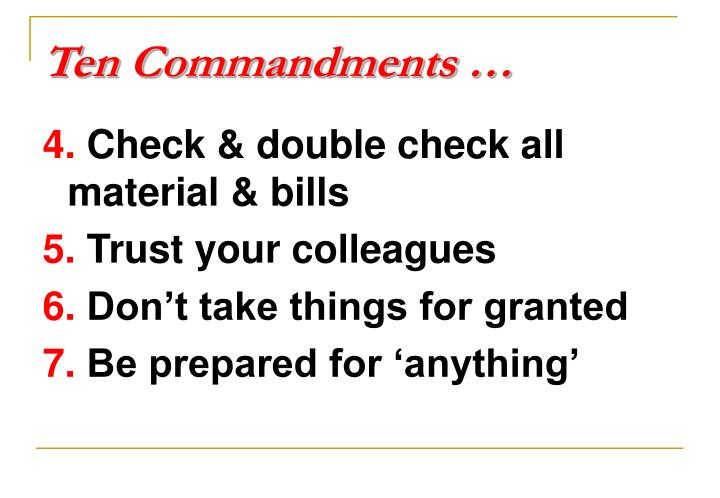 Ten Commandments …