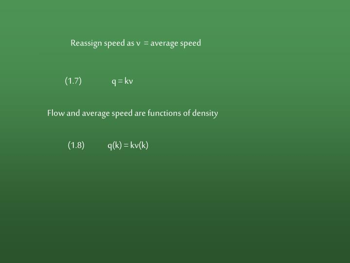 Reassign speed as v  = average speed