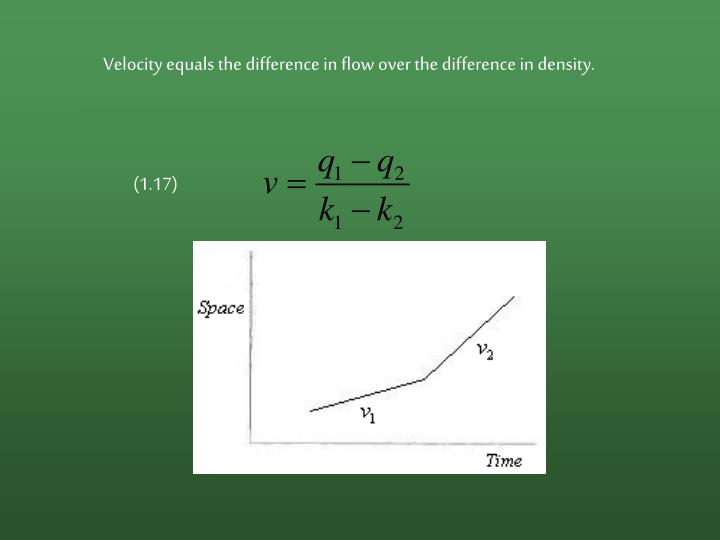 Velocity equals the difference in flow over the difference in density.