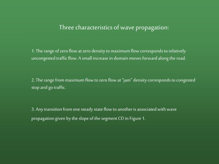 Three characteristics of wave propagation: