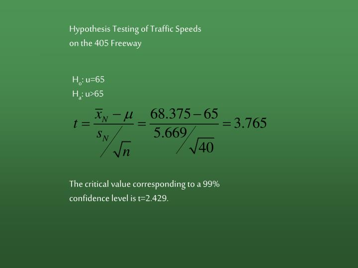 Hypothesis Testing of Traffic Speeds