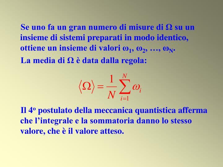 Se uno fa un gran numero di misure di Ω su un insieme di sistemi preparati in modo identico, ottiene un insieme di valori ω