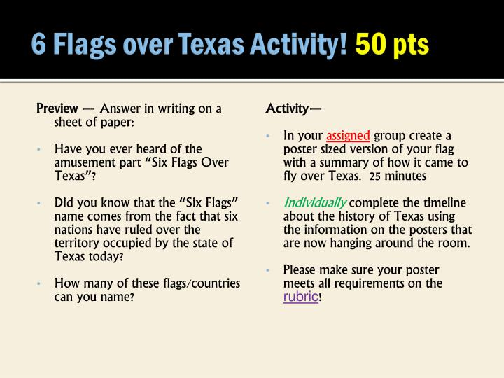 6 Flags over Texas Activity!