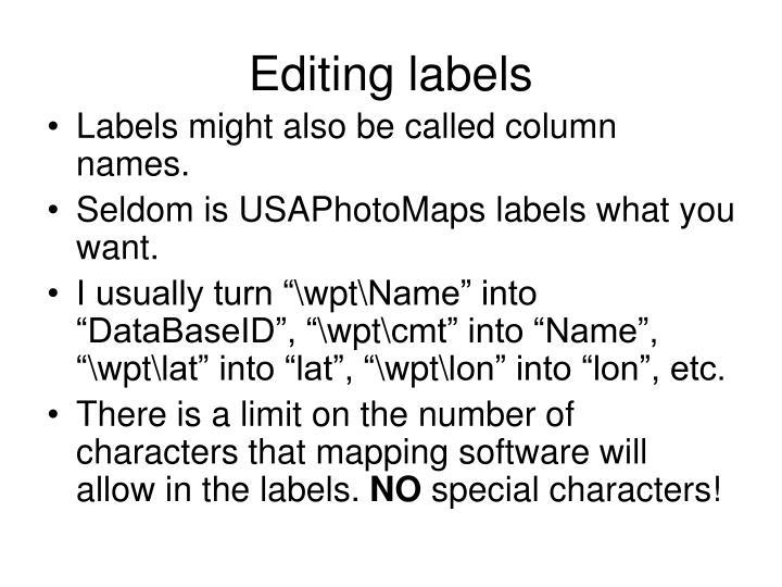Editing labels