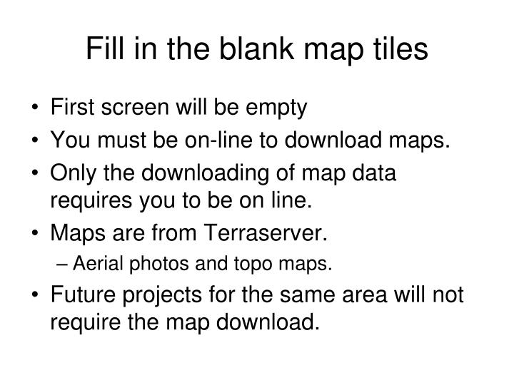 Fill in the blank map tiles