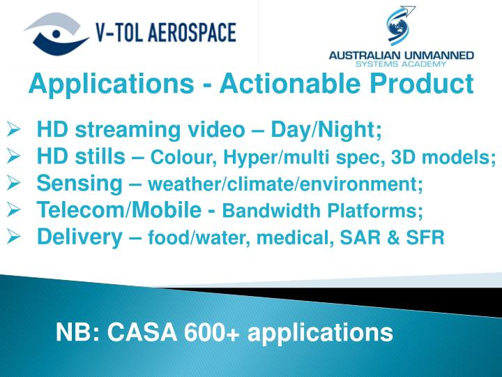 Applications - Actionable Product
