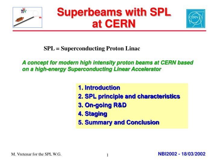 Superbeams with spl at cern