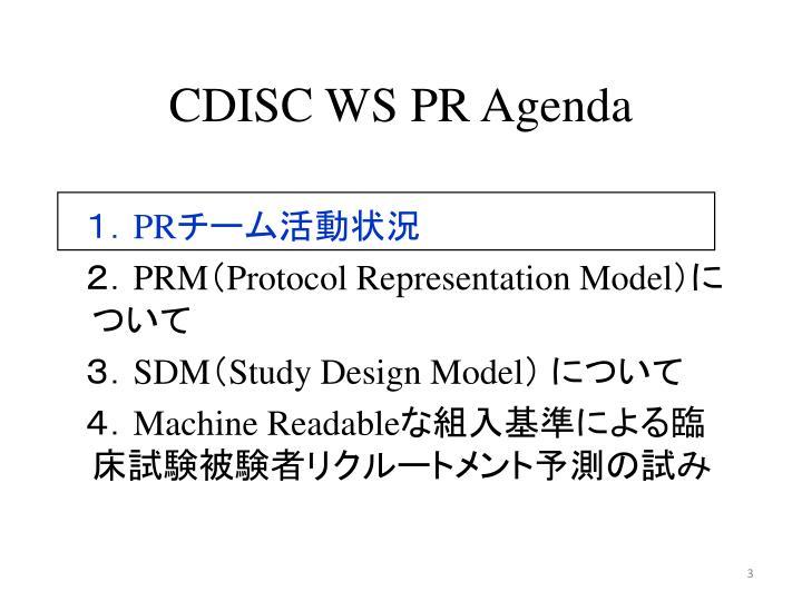 CDISC WS PR Agenda
