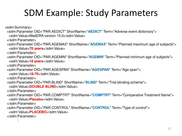 SDM Example: Study Parameters