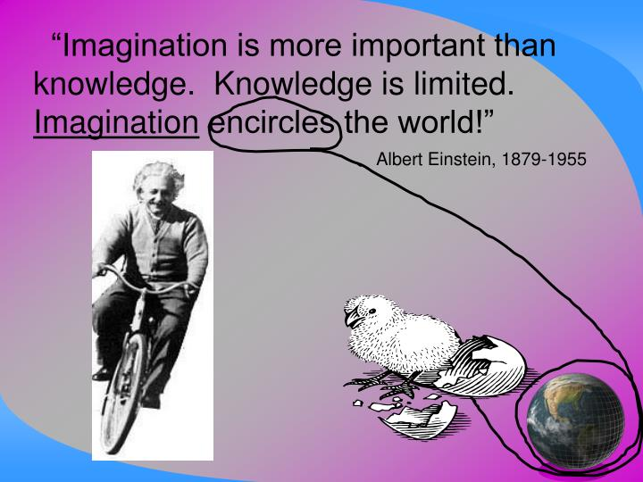 """Imagination is more important than knowledge.  Knowledge is limited."