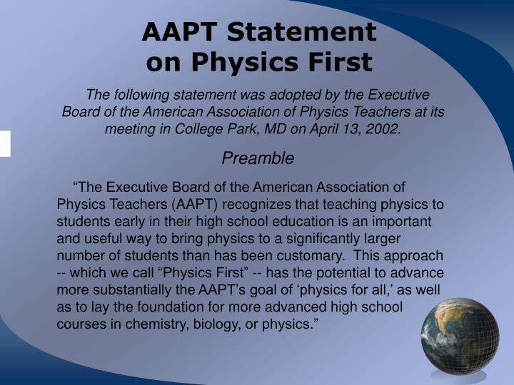 AAPT Statement
