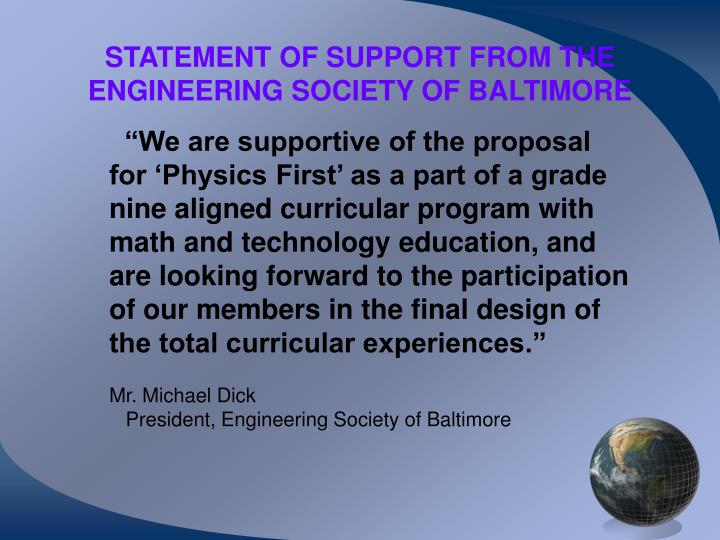 STATEMENT OF SUPPORT FROM THE ENGINEERING SOCIETY OF BALTIMORE