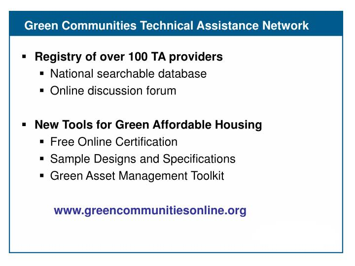 Green Communities Technical Assistance Network