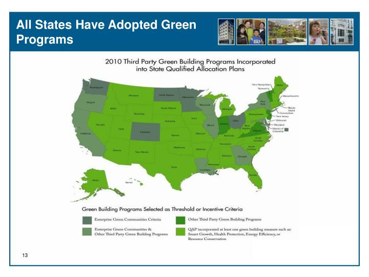 All States Have Adopted Green Programs