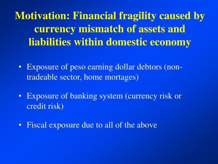 Motivation: Financial fragility caused by currency mismatch of assets and liabilities within domestic economy