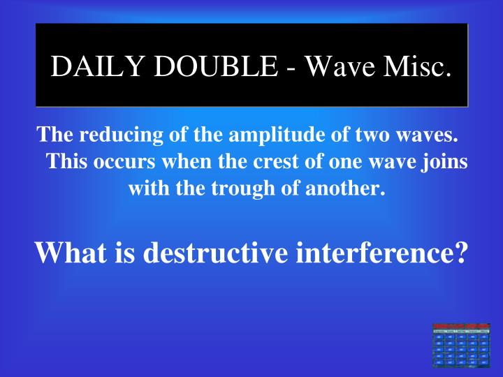 DAILY DOUBLE - Wave Misc.
