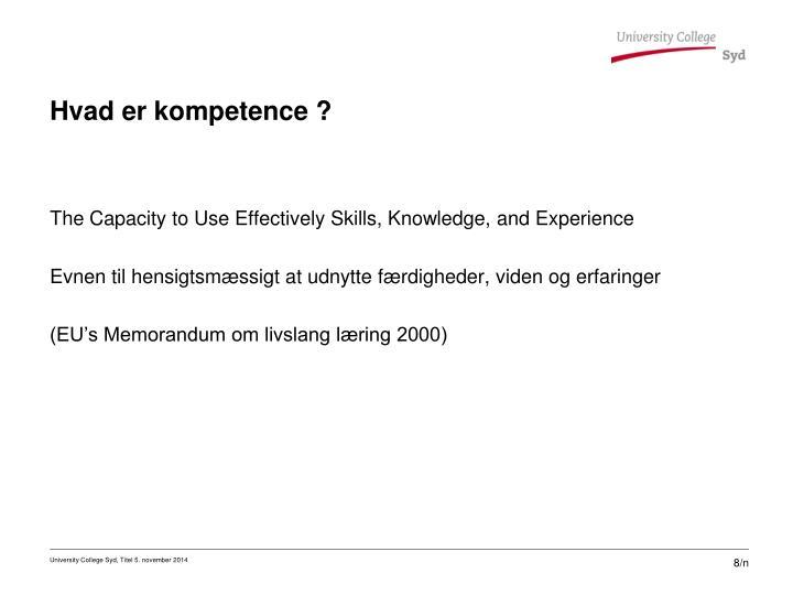 Hvad er kompetence ?