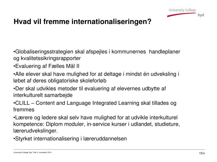 Hvad vil fremme internationaliseringen?