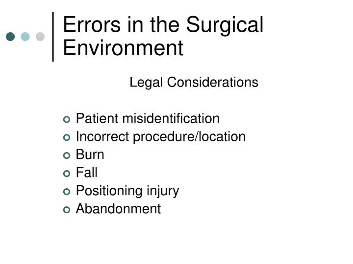 Errors in the Surgical Environment
