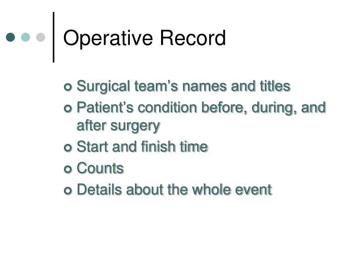 Operative Record