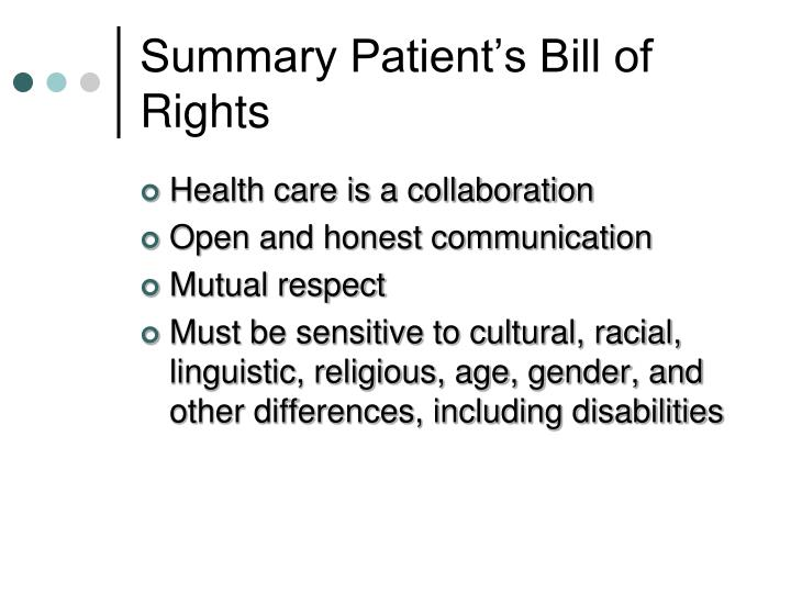 Summary Patient's Bill of Rights