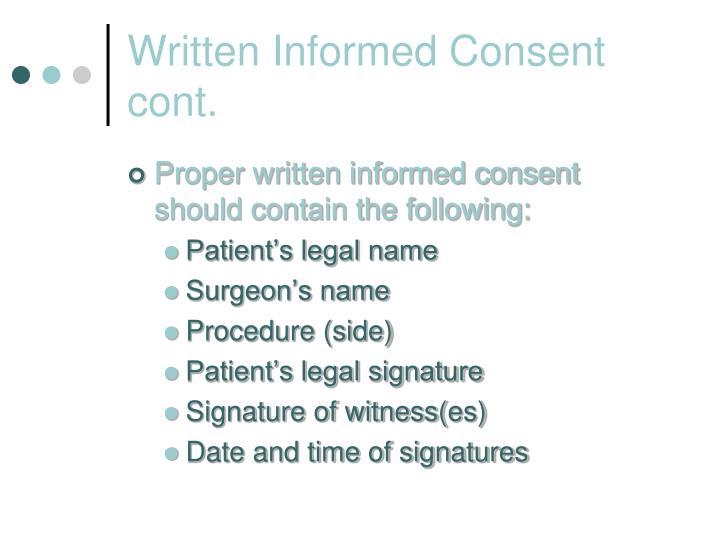 Written Informed Consent cont.