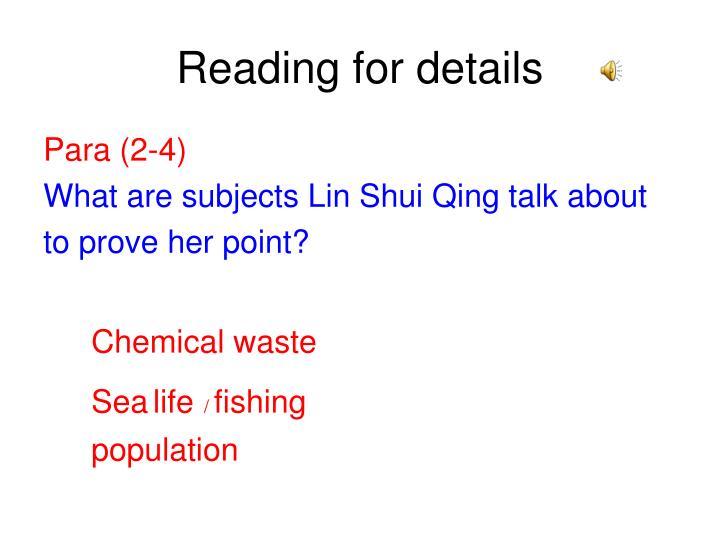 Reading for details