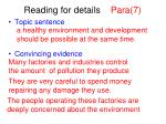 reading for details para 7