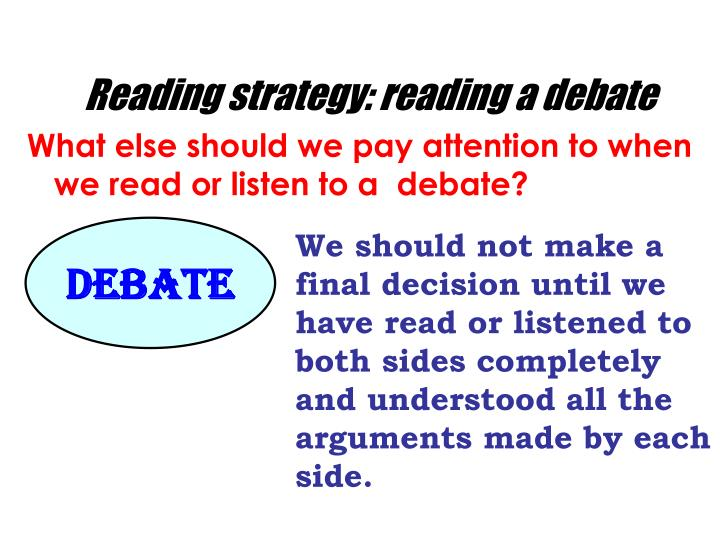 Reading strategy: reading a debate
