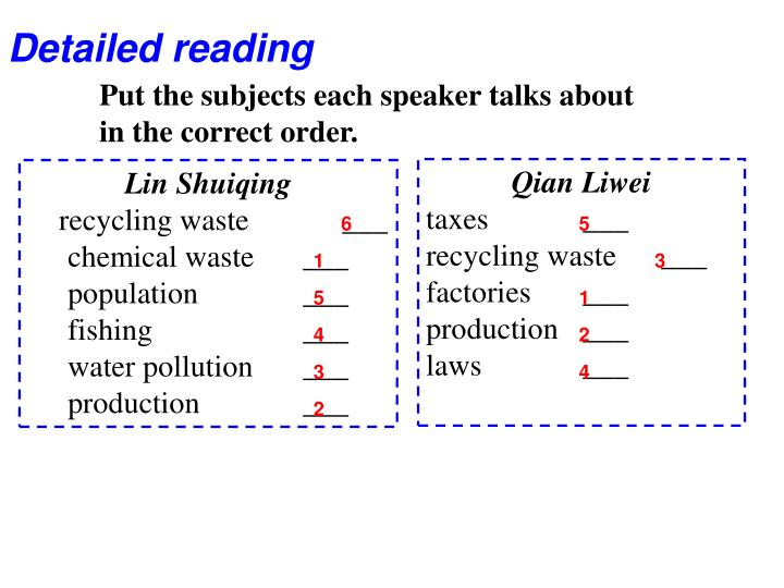 Detailed reading