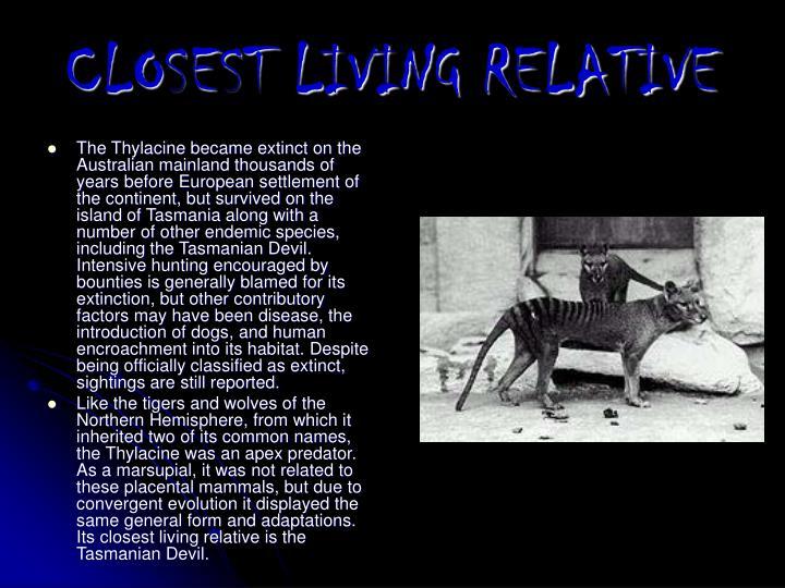 CLOSEST LIVING RELATIVE