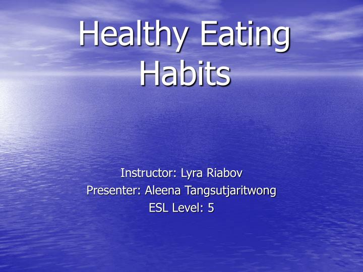 an analysis of the eating habits of americans