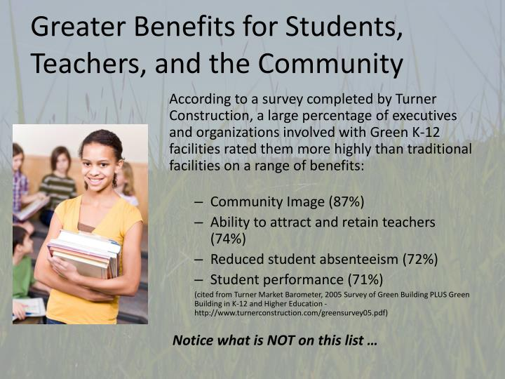 Greater benefits for students teachers and the community